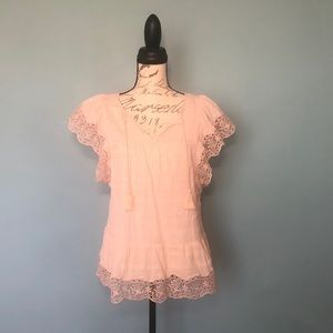 GAP Blush Pink Boho / Peasant Blouse EUC - Medium